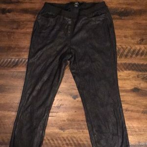 Black faux suede textured ankle length pants